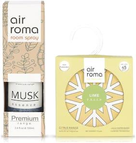 AIR-ROMA Lime Fresh Gel Air Car Freshener 110 g & Musk Essence Air Room Freshener Spray 100 ml (Pack of 2)