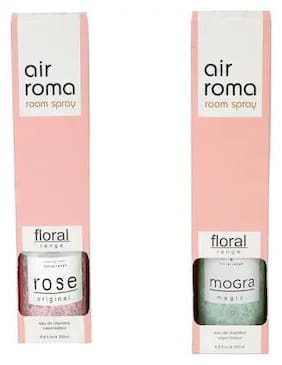 AirRoma Combo of Rose Original Fragrance Air Freshener Spray 200 ml & Mogra Magic Fragrance Air Freshener Spray 200 ml