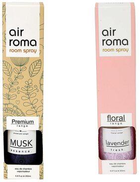 AirRoma Combo of Musk Fragrance Air Freshener Spray 200 ml & Lavender Fresh Fragrance Air Freshener Spray 200 ml