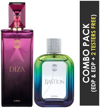 Ajma Diza EDP Fruity Floral Perfume 100ml for Women and Ajmal Bastion EDP Woody Aromatic Perfume 100ml for Men