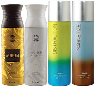 Ajmal 1 Aurum Femme for Women 1 Evoke Silver Edition for Him Homme for Men 1 Distraction and 1 Magnetize for Men & Women High Quality Deodorants each 200ml Combo Pack of 4