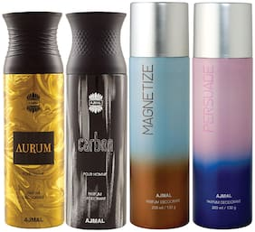 Ajmal 1 Aurum Femme for Women 1 Carbon Homme for Men 1 Magnetize and 1 Persuade for Men & Women High Quality Deodorants each 200ml Combo Pack of 4