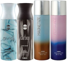 Ajmal 1 Avid Homme for Men 1 Carbon Homme for Men 1 Magnetize and 1 Persuade for Men & Women High Quality Deodorants each 200ml Combo Pack of 4
