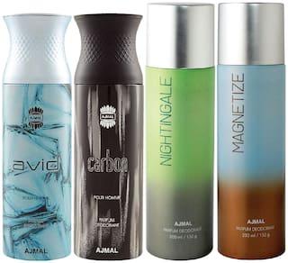 Ajmal 1 Avid Homme for Men 1 Carbon Homme for Men 1 Nightingale and 1 Magnetize for Men & Women High Quality Deodorants each 200ml Combo Pack of 4