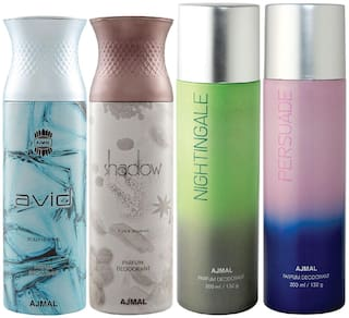 Ajmal 1 Avid Homme for Men 1 Shadow Homme for Men 1 Nightingale and 1 Persuade for Men & Women High Quality Deodorants each 200ml Combo Pack of 4