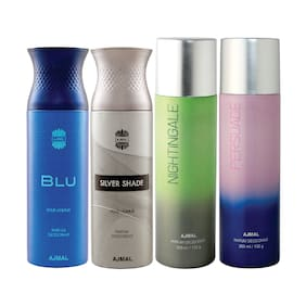 Ajmal 1 Blu Homme for Men 1 Silver Shade Homme for Men 1 Nightingale and 1 Persuade for Men & Women High Quality Deodorants each 200ml Combo Pack of 4