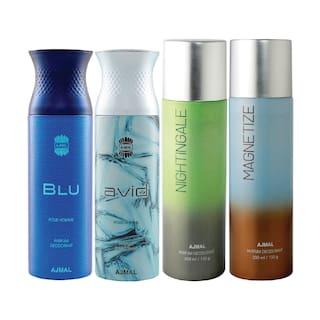 Ajmal 1 Blu Homme for Men 1 Avid Homme for Men 1 Nightingale and 1 Magnetize for Men & Women High Quality Deodorants each 200ml Combo Pack of 4