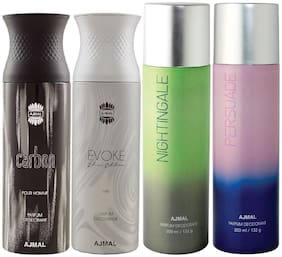 Ajmal 1 Carbon Homme for Men 1 Evoke Silver Edition for Him for Men 1 Nightingale and 1 Persuade for Men & Women High Quality Deodorants each 200ml Combo Pack of 4