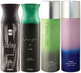Ajmal 1 Carbon Homme for Men 1 Sacrifice II for Him for Men 1 Nightingale and 1 Persuade for Men & Women High Quality Deodorants each 200ml Combo Pack of 4