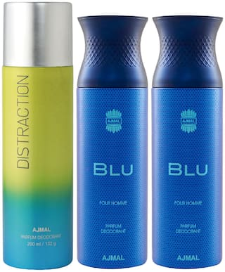 Ajmal 1 Distraction for Men & Women and 2 Blu Homme for Men High Quality Deodorants  200 ml Each ( Pack of 3 )