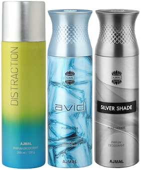 Ajmal 1 Distraction for Men & Women/1 Ajmal Avid for Men and 1 Silver Shade for Men High Quality Deodorants each 200 ml (Pack Of 3)