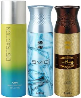 Ajmal 1 Distraction for Men & Women/1 Ajmal Avid for Men and 1 Wisal Dhahab for Men High Quality Deodorants each 200 ml (Pack Of 3)