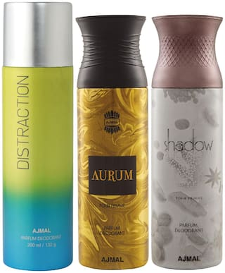 Ajmal 1 Distraction for Men & Women/1 Aurum Femme for Women and 1 Shadow Him for Men High Quality Deodorants each 200 ml (Pack Of 3)