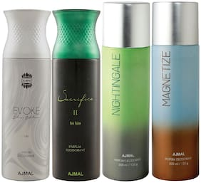 Ajmal 1 Evoke Silver Edition for Him for Men 1 Sacrifice II for Him for Men 1 Nightingale and 1 Magnetize for Men & Women High Quality Deodorants each 200ml Combo Pack of 4