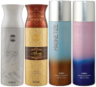 Ajmal 1 Evoke Silver Edition for Him for Men 1 Wisal Dhahab for Men 1 Magnetize and 1 Persuade for Men & Women High Quality Deodorants each 200ml Combo Pack of 4