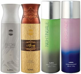 Ajmal 1 Evoke Silver Edition for Him for Men 1 Wisal Dhahab for Men 1 Nightingale and 1 Persuade for Men & Women High Quality Deodorants each 200ml Combo Pack of 4