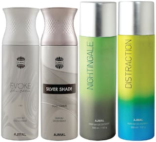 Ajmal 1 Evoke Silver Edition for Him for Men 1 Silver Shade Homme for Men 1 Nightingale and 1 Distraction for Men & Women High Quality Deodorants each 200ml Combo Pack of 4