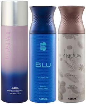 Ajmal 1 Persuade for Men & Women/1 Blu Homme for Men and 1 Shadow Him for Men High Quality Deodorants each 200 ml (Pack Of 3)