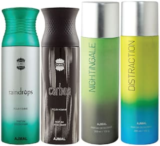 Ajmal 1 Raindrops Femme for Women 1 Carbon Homme for Men 1 Nightingale and 1 Distraction for Men & Women High Quality Deodorants each 200ml Combo Pack of 4