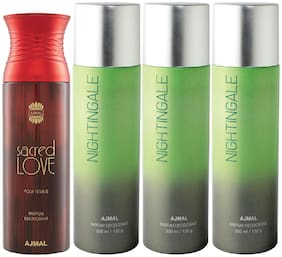 Ajmal 1 Sacred Love for Women and 3 Nightingale for Men & Women High Quality Deodorants each 200ml Combo ( Pack of 4 )