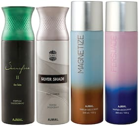 Ajmal 1 Sacrifice II for Him for Men 1 Silver Shade Homme for Men 1 Magnetize and 1 Persuade for Men & Women High Quality Deodorants each 200ml Combo Pack of 4