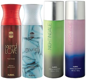Ajmal 1 Sacred Love for Women 1 Avid Homme for Men 1 Nightingale and 1 Persuade for Men & Women High Quality Deodorants each 200ml Combo Pack of 4