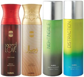 Ajmal 1 Sacred Love for Women 1 Wisal for Women 1 Nightingale and 1 Distraction for Men & Women High Quality Deodorants each 200ml Combo Pack of 4