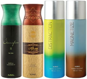 Ajmal 1 Sacrifice II for Him for Men 1 Wisal Dhahab for Men 1 Distraction and 1 Magnetize for Men & Women High Quality Deodorants each 200ml Combo Pack of 4