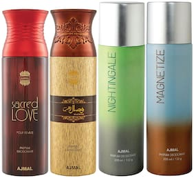 Ajmal 1 Sacred Love for Women 1 Wisal Dhahab for Men 1 Nightingale and 1 Magnetize for Men & Women High Quality Deodorants each 200ml Combo Pack of 4