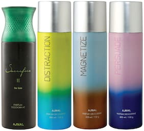 Ajmal 1 Sacrifice II for Him for Men, 1 Distraction, 1 Magnetize and 1 Persuade for Men & Women High Quality Deodorants each 200ml Combo ( Pack of 4 )