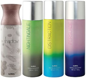 Ajmal 1 Shadow Him for Men, 1 Nightingale, 1 Distraction and 1 Persuade for Men & Women High Quality Deodorants each 200ml Combo ( Pack of 4 )
