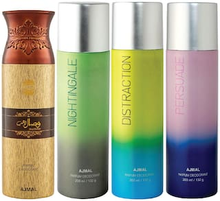 Ajmal 1 Wisal Dhahab for Men, 1 Nightingale, 1 Distraction and 1 Persuade for Men & Women High Quality Deodorants each 200ml Combo ( Pack of 4 )