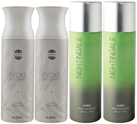 Ajmal 2 Evoke Silver Edition for Him for Men and 2 Nightingale for Men & Women High Quality Deodorants each 200ml Combo ( Pack of 4 )