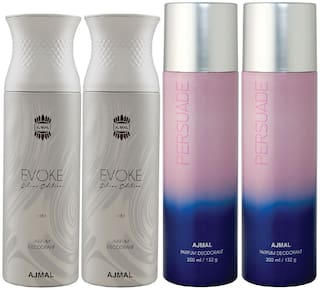 Ajmal 2 Evoke Silver Edition for Him for Men and 2 Persuade for Men & Women High Quality Deodorants each 200ml Combo ( Pack of 4 )