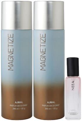 Ajmal 2 Magnetize Deo each 200 ml & Neea EDP 20 ml Pack of 3  for Men & Women