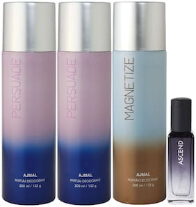 Ajmal 2 Persuade & Magnetize Deo each 200 ml & Ascend EDP 20 ml Pack of 3  for Men & Women