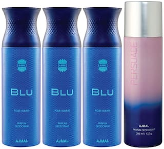 Ajmal 3 Blu Homme for Men and 1 Persuade for Men & Women High Quality Deodorants each 200ml Combo ( Pack of 4 )