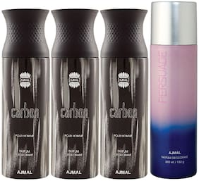Ajmal 3 Carbon for Men and 1 Persuade for Men & Women High Quality Deodorants each 200ml Combo ( Pack of 4 )