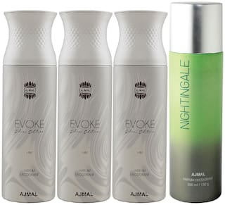 Ajmal 3 Evoke Silver Edition for Him for Men and 1 Nightingale for Men & Women High Quality Deodorants each 200ml Combo ( Pack of 4 )