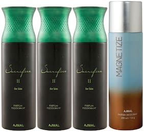 Ajmal 3 Sacrifice II for Him for Men and 1 Magnetize for Men & Women High Quality Deodorants each 200ml Combo ( Pack of 4 )