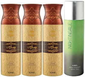 Ajmal 3 Wisal Dhahab for Men and 1 Nightingale for Men & Women High Quality Deodorants each 200ml Combo ( Pack of 4 )