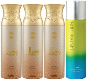 Ajmal 3 Wisal for Women and 1 Distraction for Men & Women High Quality Deodorants each 200ml Combo ( Pack of 4 )