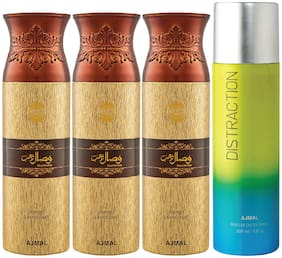 Ajmal 3 Wisal Dhahab for Men and 1 Distraction for Men & Women High Quality Deodorants each 200ml Combo ( Pack of 4 )