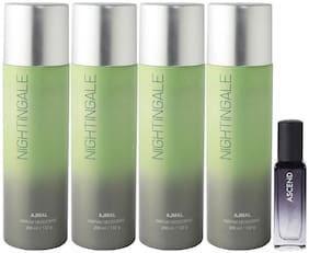 Ajmal 4 Nightingale Deo each 200 ml & Ascend EDP 20 ml Pack of 5  for Men & Women