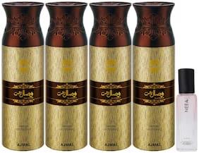 Ajmal 4 Wisal Dhahab Deo each 200 ml & Neea EDP 20 ml Pack of 5  for Men & Women