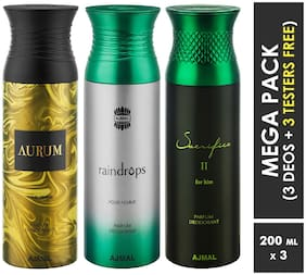 Ajmal Aurum & Raindrops & Sacrifice II Deodorant Spray  For Men & Women 200ml each (Pack of 3, 600ml) + 3 Parfum Testers  Free