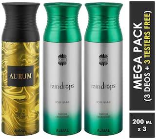Ajmal Aurum & Raindrops & Raindrops Deodorant Spray  For Women 200ml each (Pack of 3, 600ml) + 3 Parfum Testers  Free