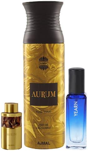 Ajmal Aurum 10 ml and Aurum Deo 200 ml & Yearn EDP 20 ml Pack of 3  for Men & Women