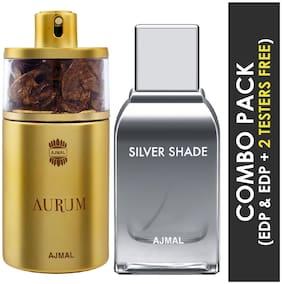 Ajmal Aurum EDP Fruity Floral Perfume 75ml for Women and Silver Shade EDP Citrus Woody Perfume 100ml for Men