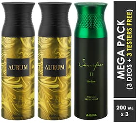 Ajmal Aurum & Aurum & Sacrifice II  Deodorant Spray  For Men & Women 200ml each (Pack of 3, 600ml) + 3 Parfum Testers  Free